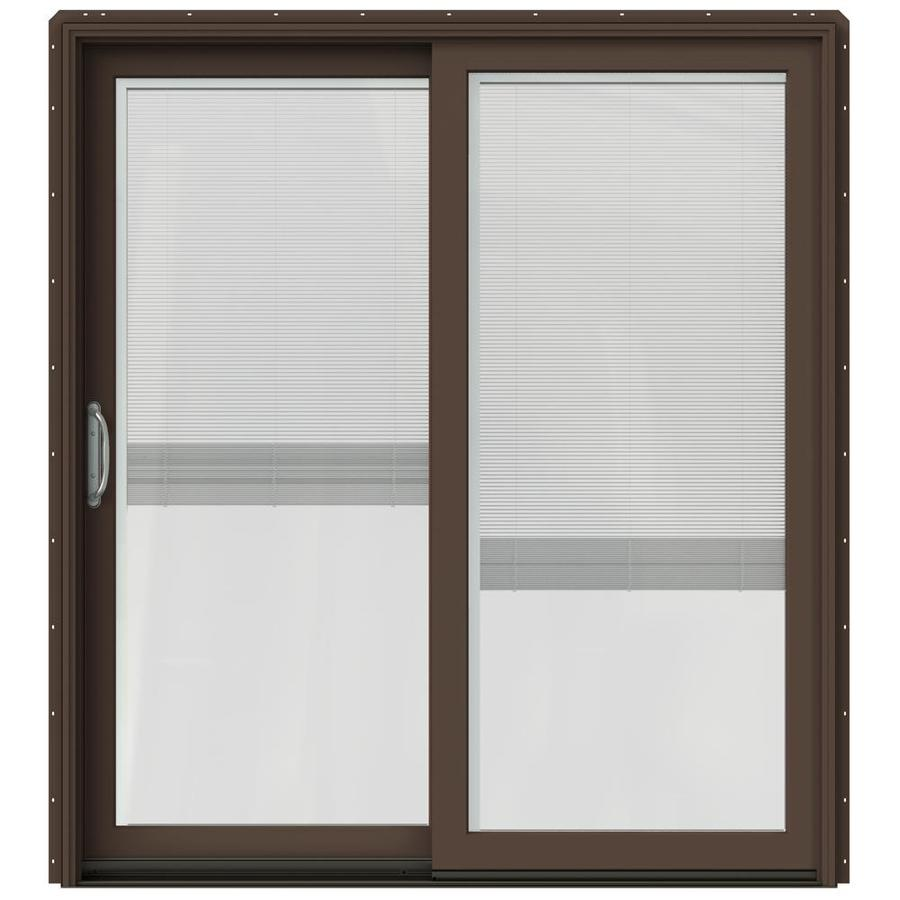 Shop Jeld Wen W 2500 Blinds Between The Glass Dark Chocolate Wood Sliding Patio Door