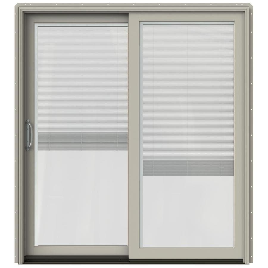 Shop Jeld Wen W 2500 Blinds Between The Glass Desert Sand Wood Sliding Patio Door With