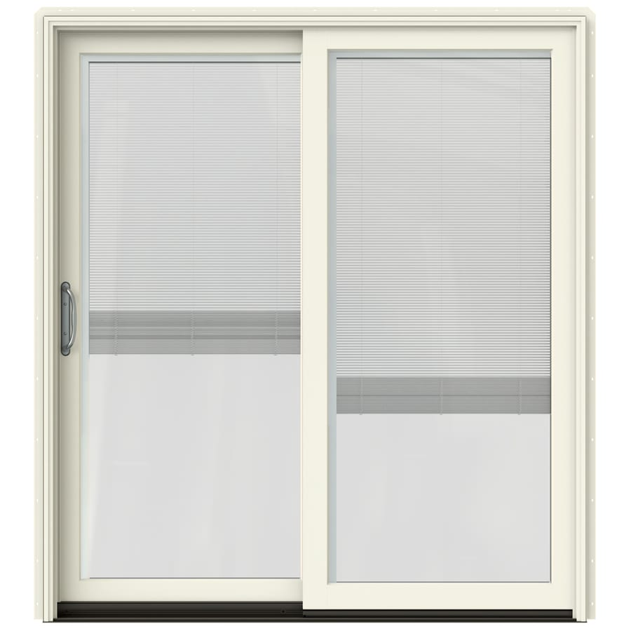 JELD-WEN W-2500 71.25-in Blinds Between the Glass French Vanilla Wood Sliding Patio Door with Screen