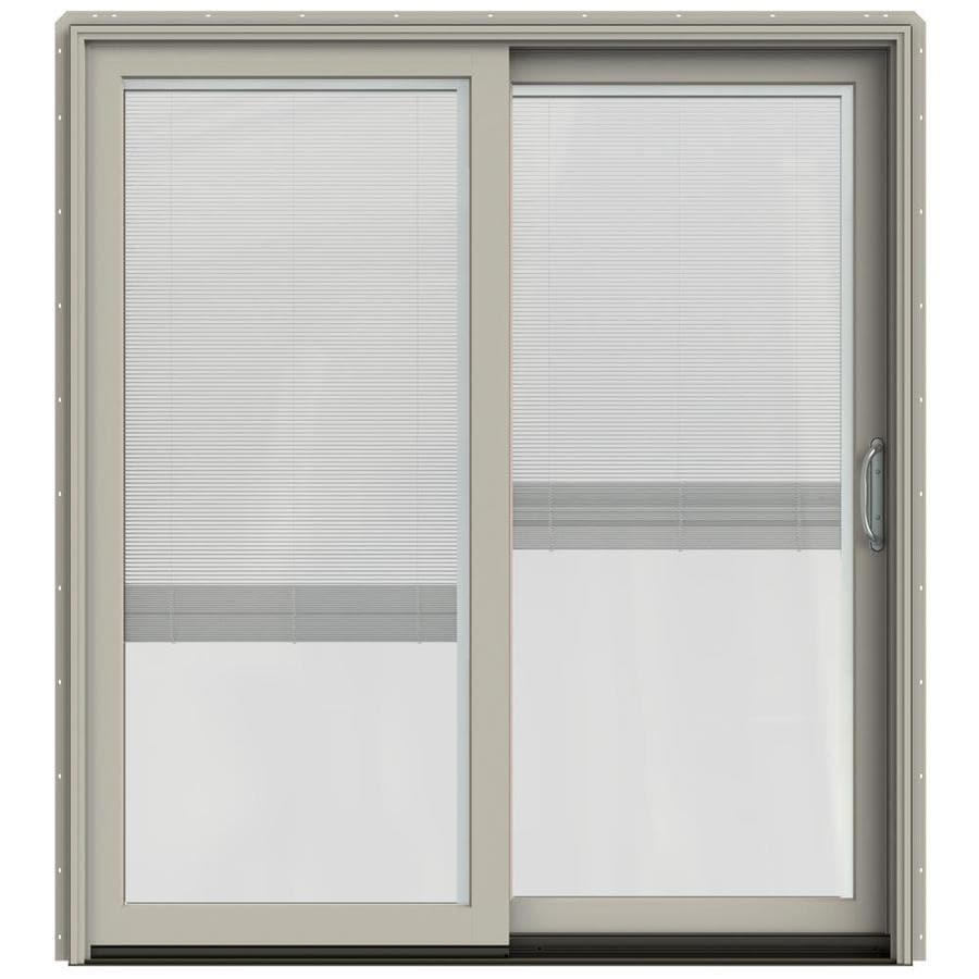 JELD-WEN W-2500 71.25-in x 79.5-in Blinds Between the Glass Right-Hand Sliding Patio Door with Screen