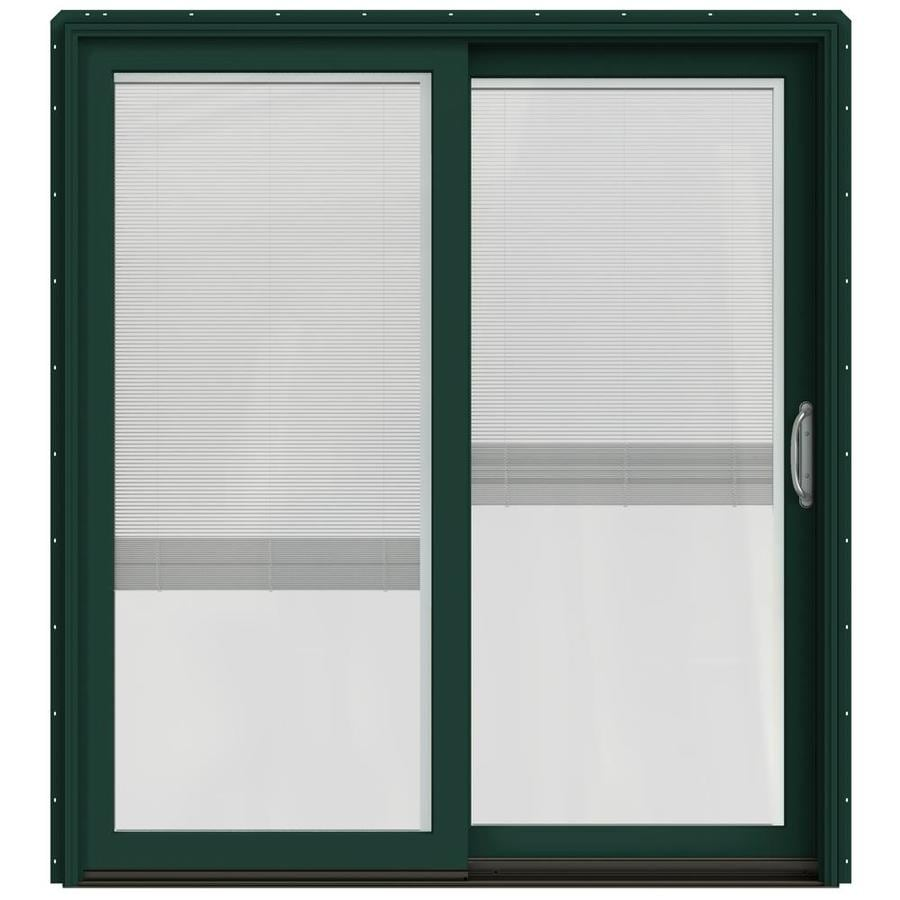 JELD-WEN W-2500 71.25-in x 79.5-in Blinds Between the Glass Right-Hand Green Sliding Patio Door with Screen