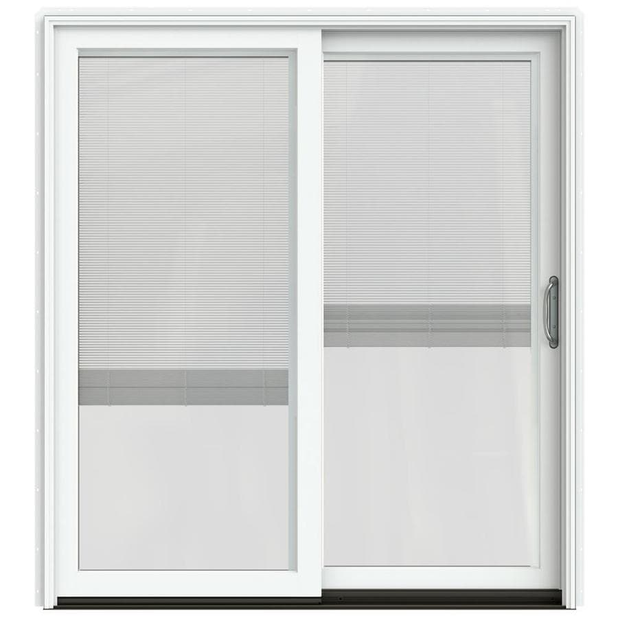 JELD-WEN W-2500 71.25-in Blinds Between the Glass Brilliant White Wood Sliding Patio Door with Screen