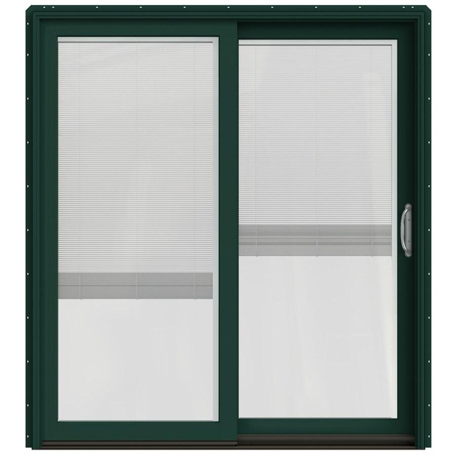 JELD-WEN W-2500 71.25-in x 79.5-in Blinds Between the Glass Right-Hand Green Sliding Patio Door with Screen