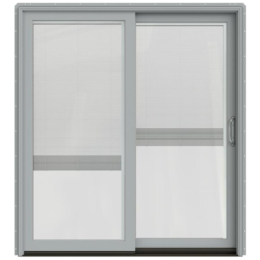 JELD-WEN W-2500 71.25-in x 79.5-in Blinds Between the Glass Right-Hand Silver Sliding Patio Door with Screen