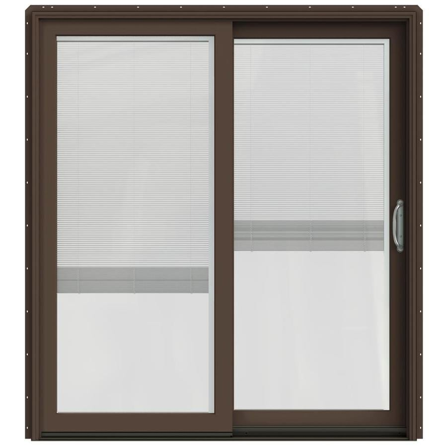 JELD-WEN W-2500 71.25-in Blinds Between the Glass Dark Chocolate Wood Sliding Patio Door with Screen