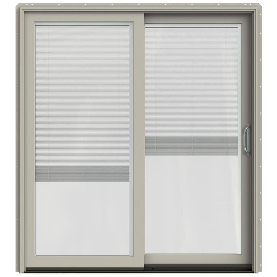 JELD-WEN W-2500 71.25-in x 79.5-in Blinds Between the Glass Right-Hand Sliding Patio Door with Screen