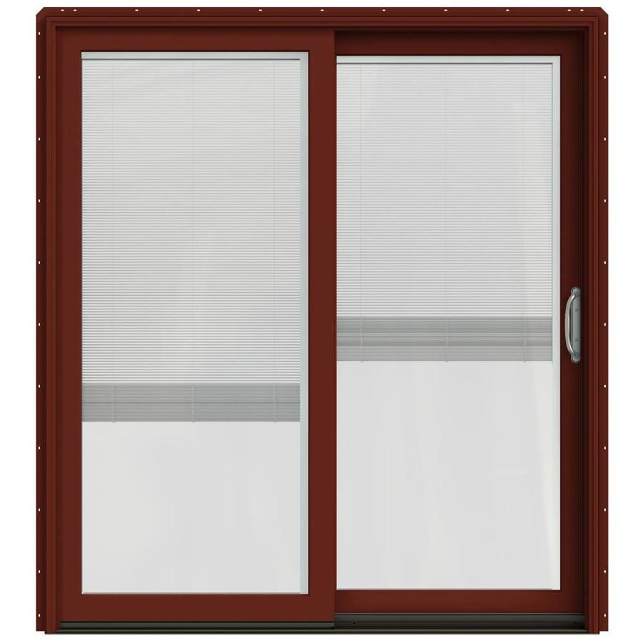 JELD-WEN W-2500 71.25-in x 79.5-in Blinds Between the Glass Right-Hand Red Sliding Patio Door with Screen
