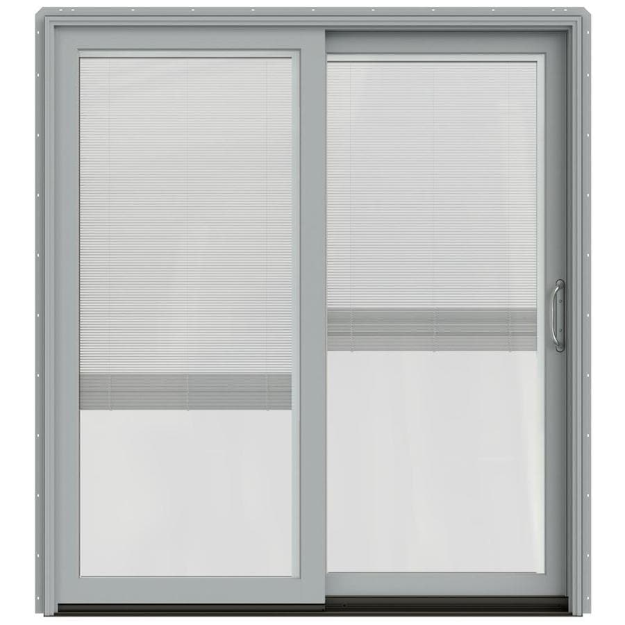 JELD-WEN W-2500 71.25-in Blinds Between the Glass Arctic Silver Wood Sliding Patio Door with Screen