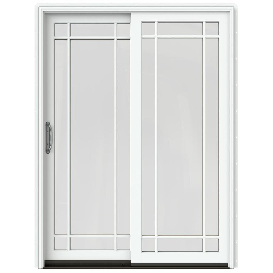 JELD-WEN W-2500 59.25-in Grid Glass Brilliant White Wood Sliding Patio Door with Screen