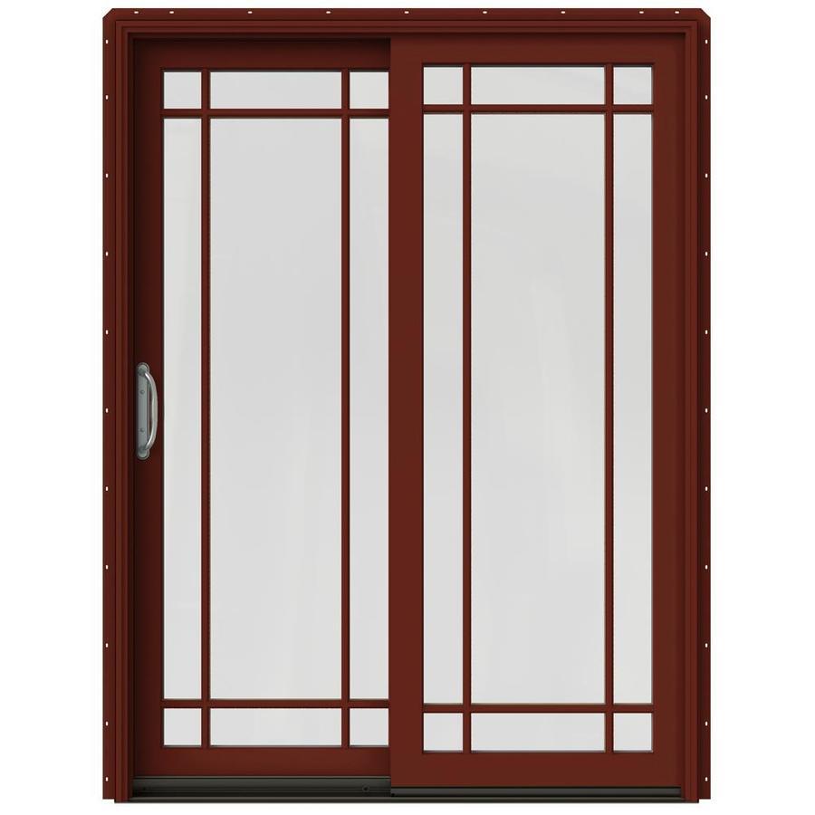 JELD-WEN W-2500 59.25-in Grid Glass Mesa Red Wood Sliding Patio Door with Screen