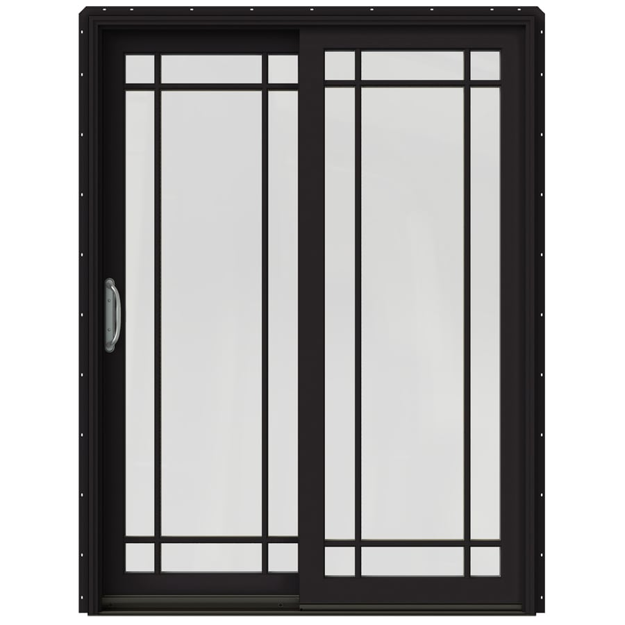 in grid glass black wood sliding patio door with screen at