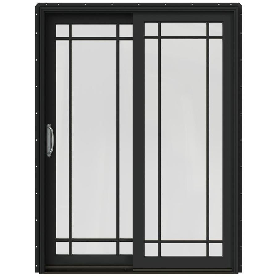 JELD-WEN W-2500 59.25-in Grid Glass Chestnut Bronze Wood Sliding Patio Door with Screen
