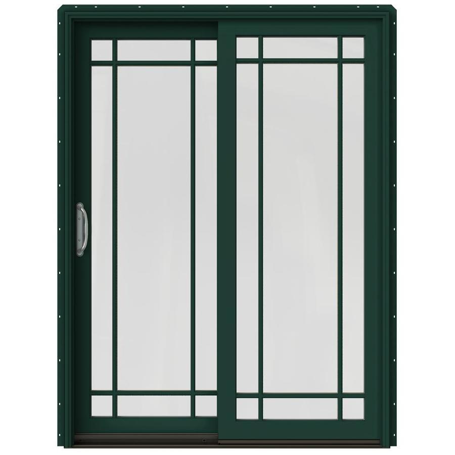 JELD-WEN W-2500 59.25-in Grid Glass Hartford Green Wood Sliding Patio Door with Screen