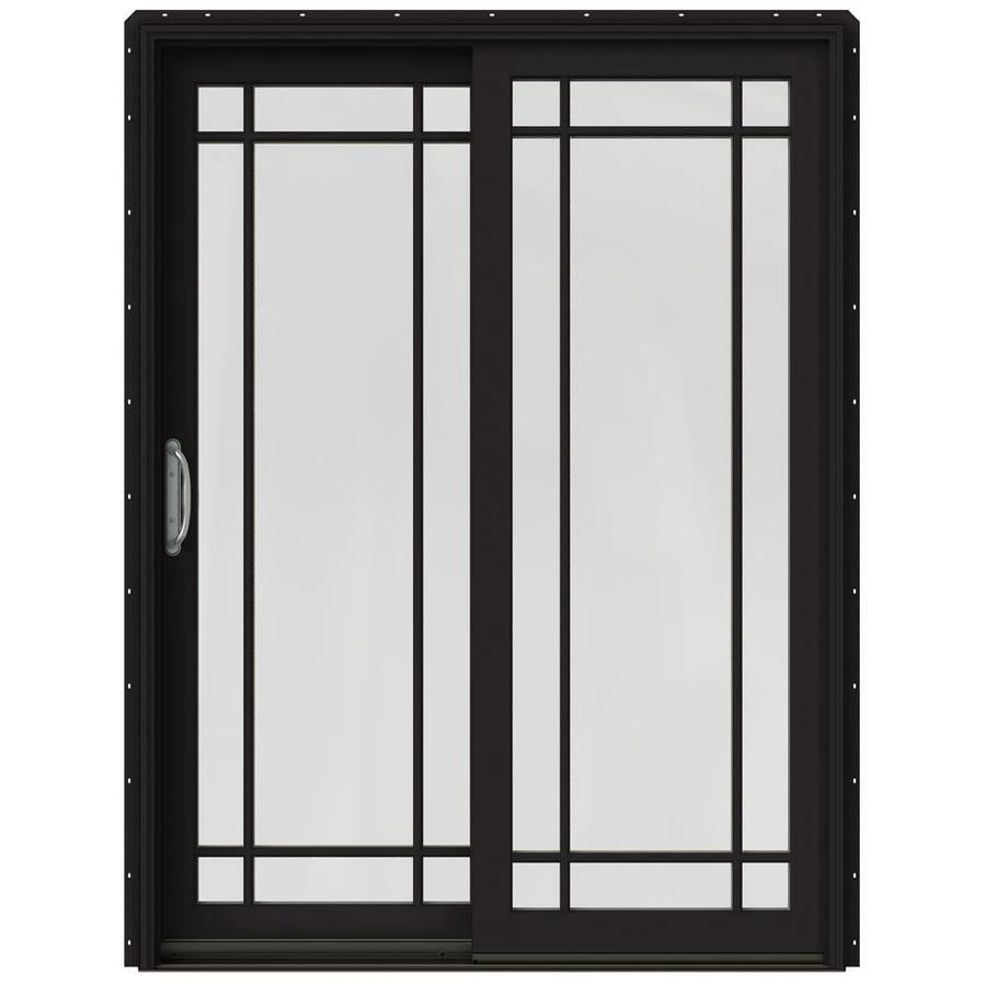 JELD-WEN W-2500 59.25-in Grid Glass Black Wood Sliding Patio Door with Screen