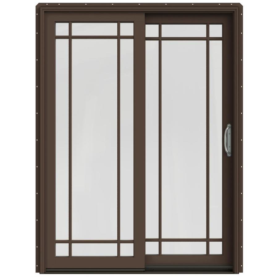 JELD-WEN W-2500 59.25-in Grid Glass Dark Chocolate Wood Sliding Patio Door with Screen