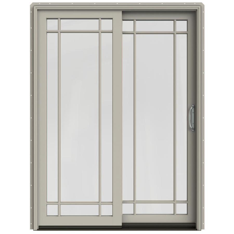 JELD-WEN W-2500 59.25-in x 79.5-in Right-Hand Sliding Patio Door with Screen