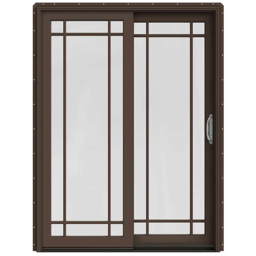 JELD-WEN W-2500 59.25-in Grid Glass Dark Chocolate Wood Sliding Patio Door with Screen