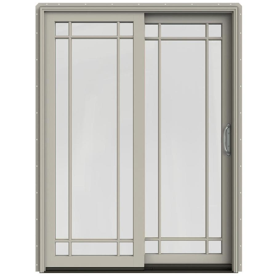 JELD-WEN W-2500 59.25-in Grid Glass Desert Sand Wood Sliding Patio Door with Screen