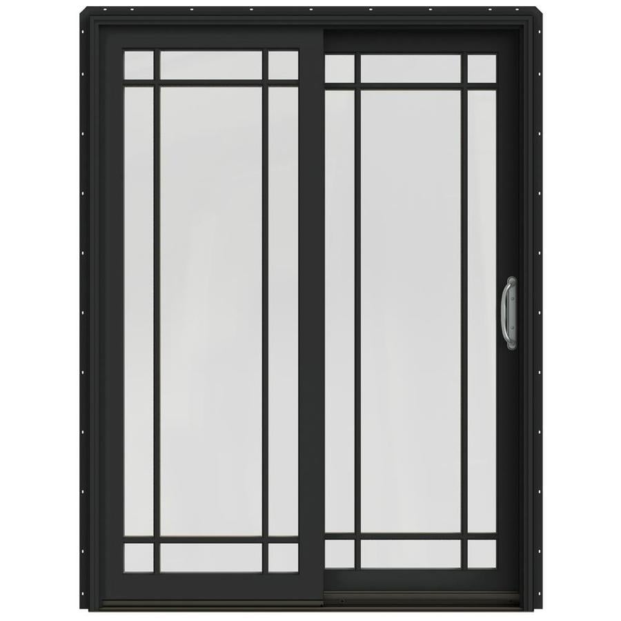 JELD-WEN W-2500 59.25-in Grid Glass Chestnut Bronze Wood Sliding Patio Door with Screen
