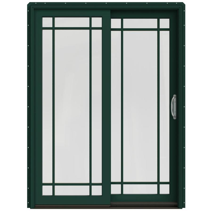 JELD-WEN W-2500 59.25-in x 79.5-in Right-Hand Green Sliding Patio Door with Screen
