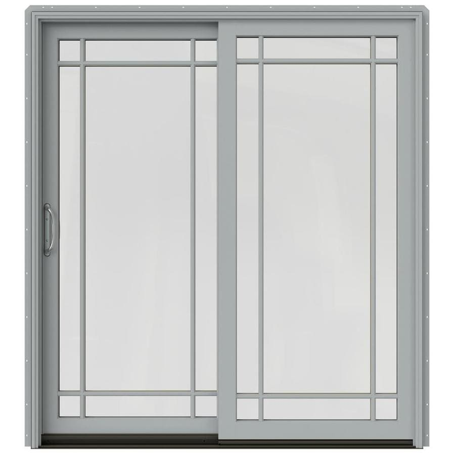 JELD-WEN W-2500 71.25-in x 79.5-in Left-Hand Silver Sliding Patio Door with Screen
