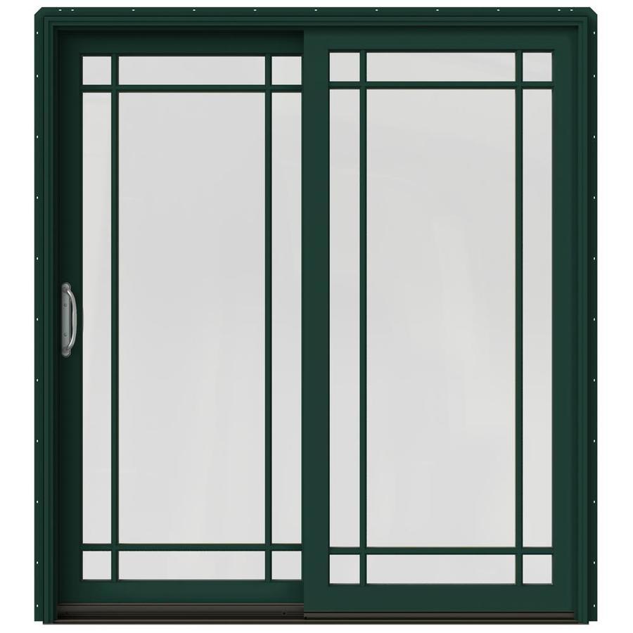 JELD-WEN W-2500 71.25-in Grid Glass Hartford Green Wood Sliding Patio Door with Screen