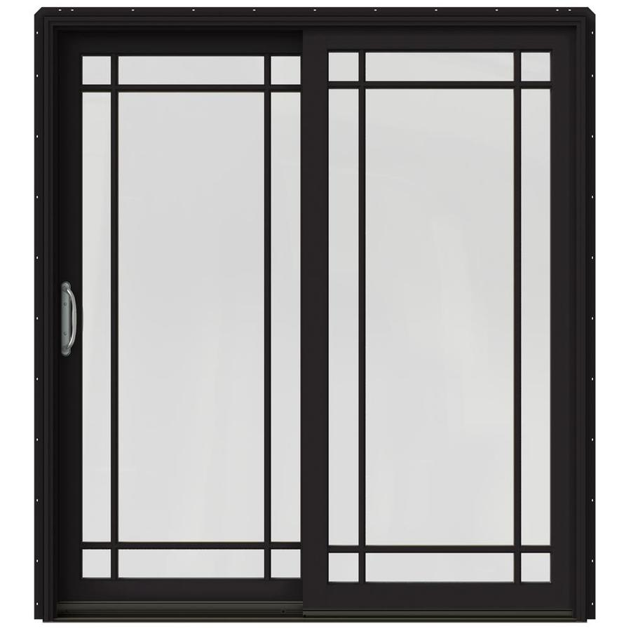 JELD-WEN W-2500 71.25-in Grid Glass Black Wood Sliding Patio Door with Screen