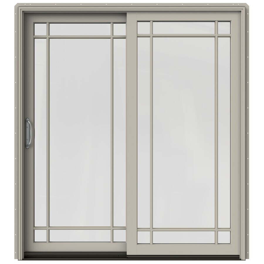 Shop jeld wen w 2500 grid glass desert sand wood for Sliding glass doors jeld wen