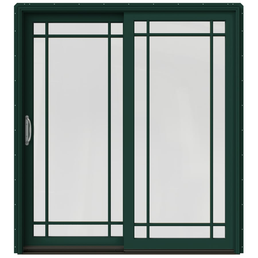 JELD-WEN W-2500 71.25-in Grid Glass Hartford Green Wood Sliding Patio Door with Screen