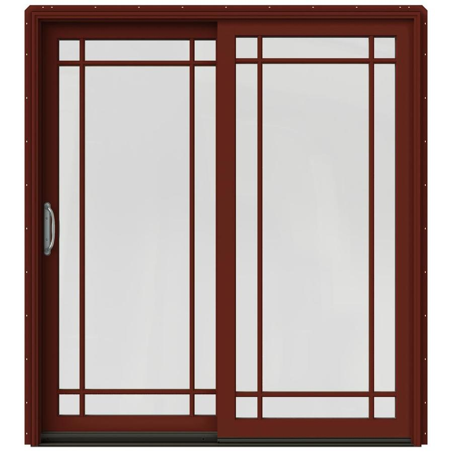 JELD-WEN W-2500 71.25-in Grid Glass Mesa Red Wood Sliding Patio Door with Screen