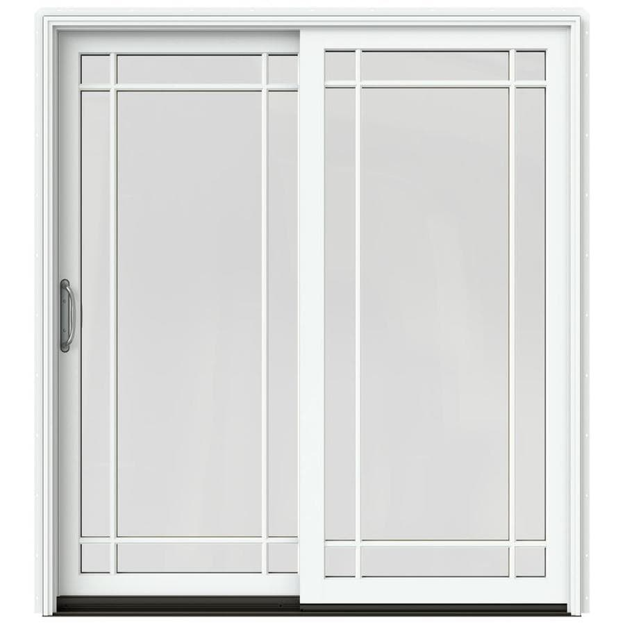 JELD-WEN W-2500 71.25-in Grid Glass Brilliant White Wood Sliding Patio Door with Screen