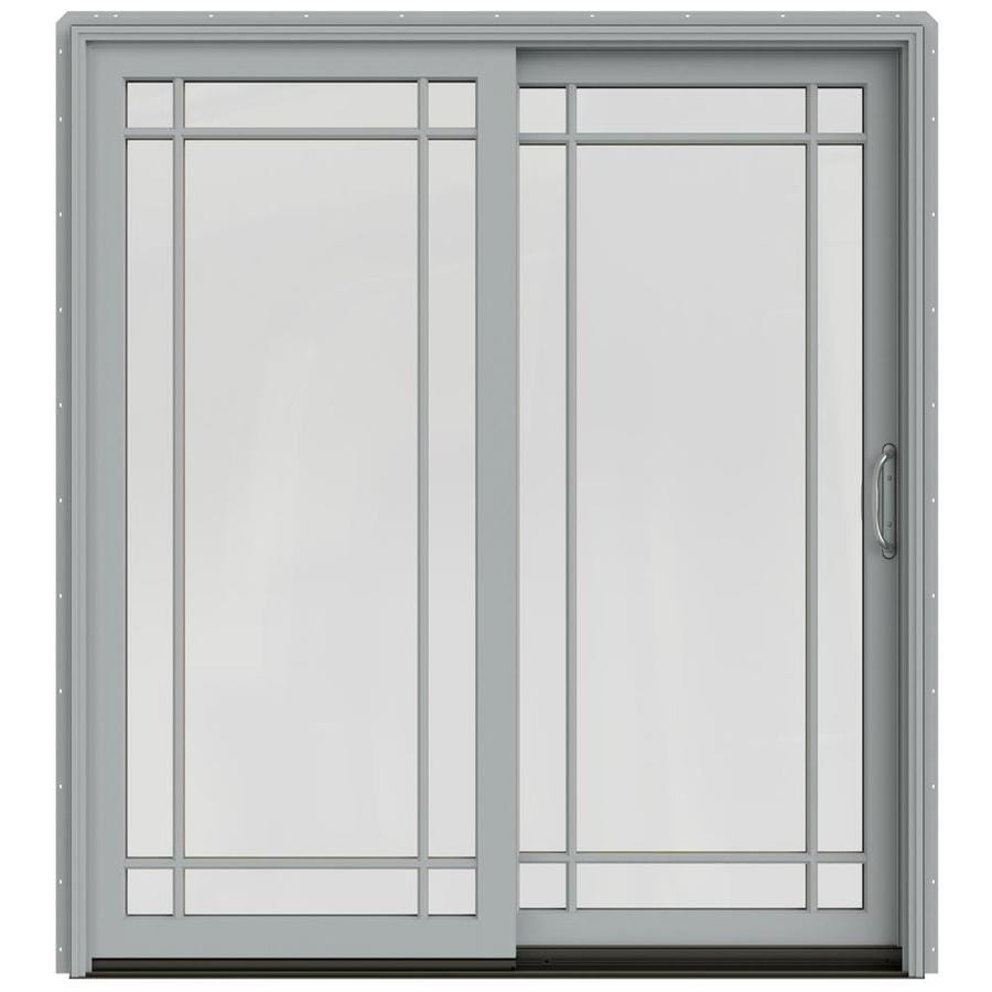 JELD-WEN W-2500 71.25-in Grid Glass Artict Silver Wood Sliding Patio Door with Screen