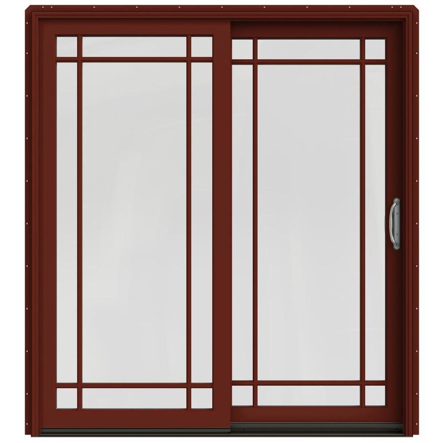 JELD-WEN W-2500 71.25-in Grid Glass Mesa Red Wood Sliding Patio Door with Screen