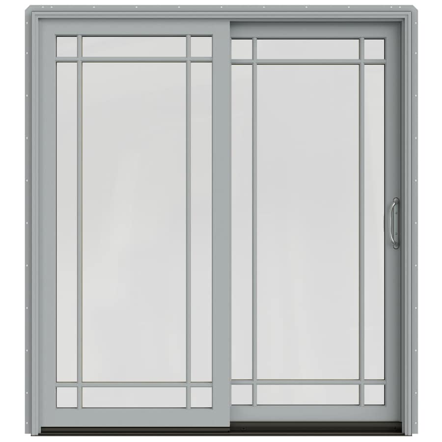 JELD-WEN W-2500 71.25-in Grid Glass Artict Silver Wood Sliding Patio Door with Screen