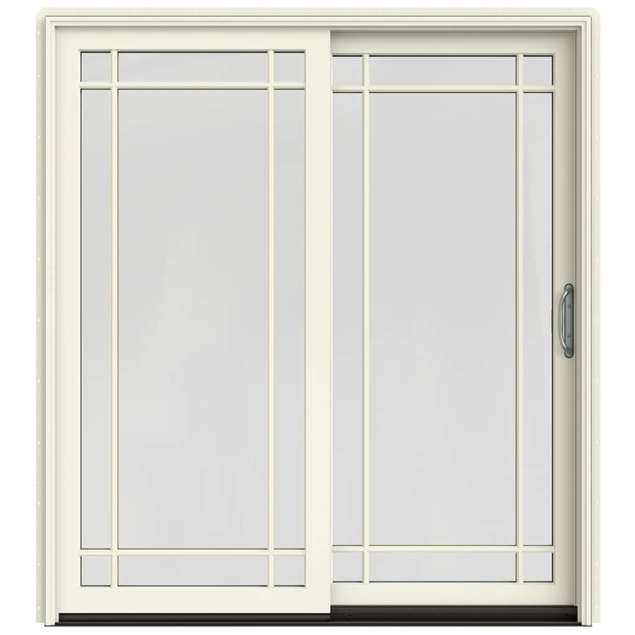 JELD-WEN W-2500 71.25-in Grid Glass French Vanilla Wood Sliding Patio Door with Screen