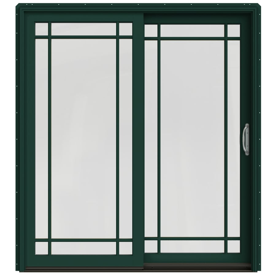 JELD-WEN W-2500 71.25-in x 79.5-in Right-Hand Green Sliding Patio Door with Screen