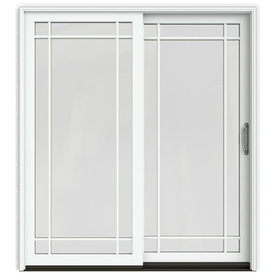 Shop jeld wen w 2500 grid glass brilliant white for White sliding patio doors