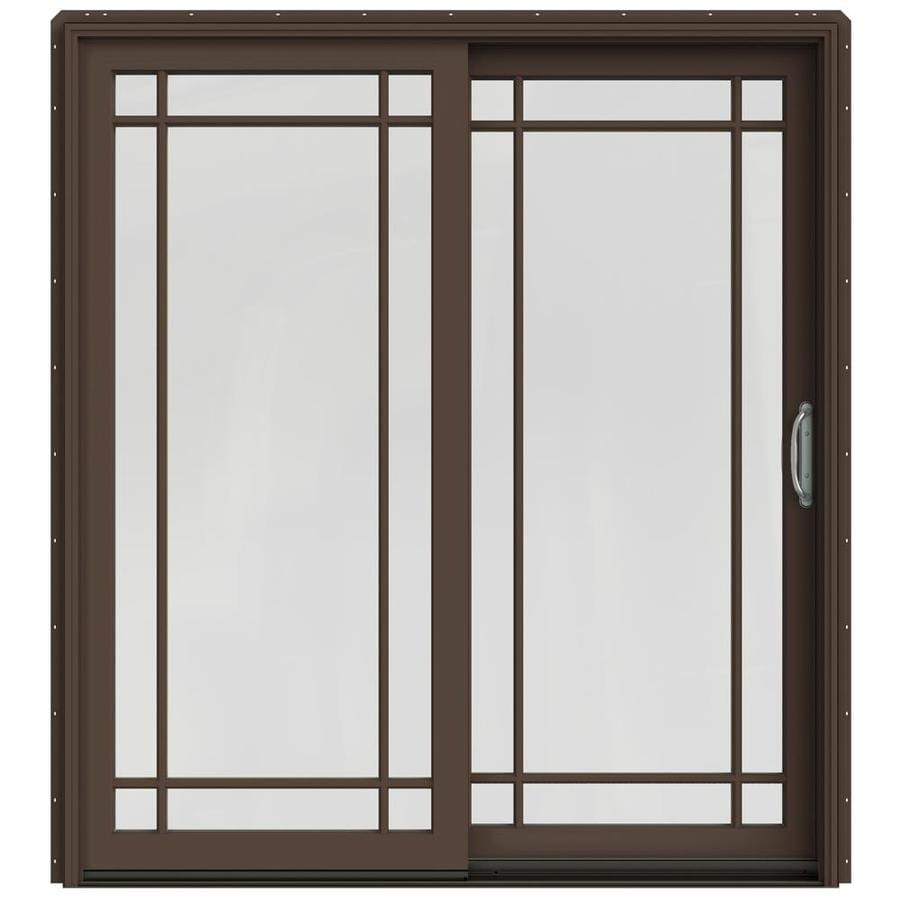 JELD-WEN W-2500 71.25-in Grid Glass Dark Chocolate Wood Sliding Patio Door with Screen