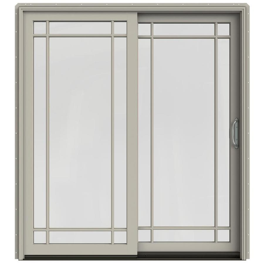 JELD-WEN W-2500 71.25-in Grid Glass Desert Sand Wood Sliding Patio Door with Screen