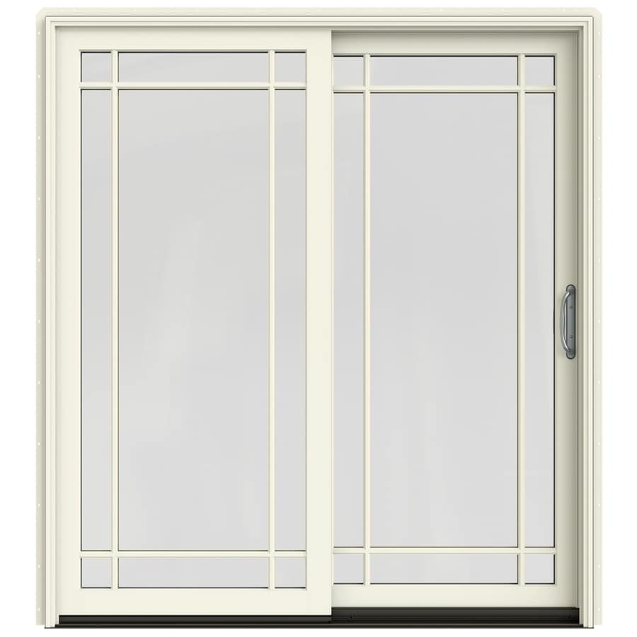 grid glass french vanilla wood sliding patio door with screen