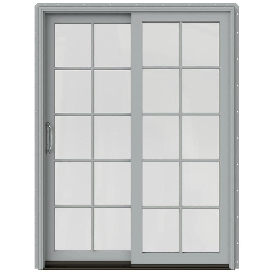 JELD-WEN W-2500 59.25-in x 79.5-in Left-Hand Silver Sliding Patio Door with Screen