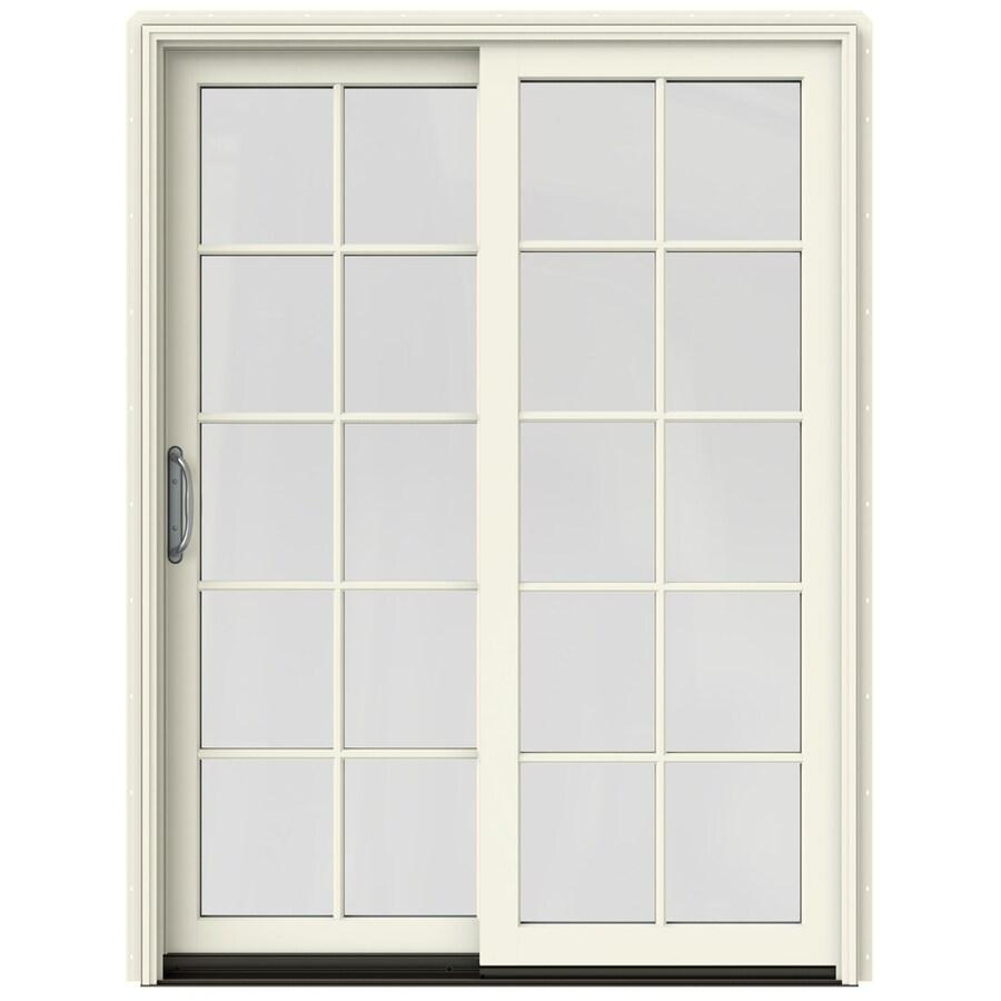 JELD-WEN W-2500 59.25-in 10-Lite Glass French Vanilla Wood Sliding Patio Door with Screen
