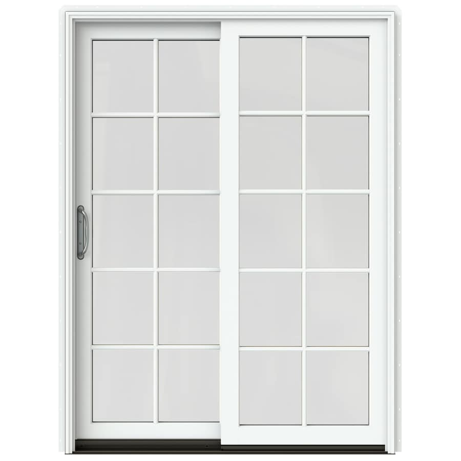 JELD-WEN W-2500 59.25-in 10-Lite Glass Brilliant White Wood Sliding Patio Door with Screen