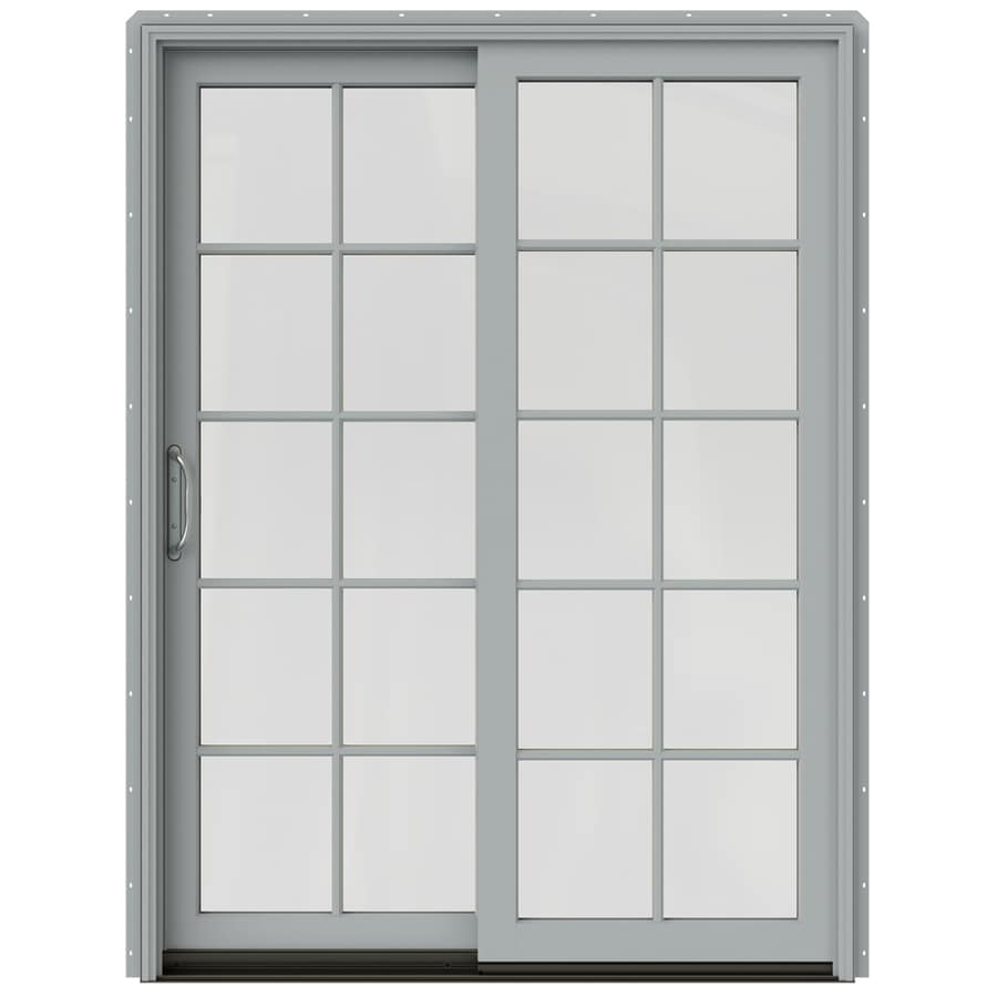 JELD-WEN W-2500 59.25-in x 79.5-in Left-Hand Silver Sliding Patio Door with Screen