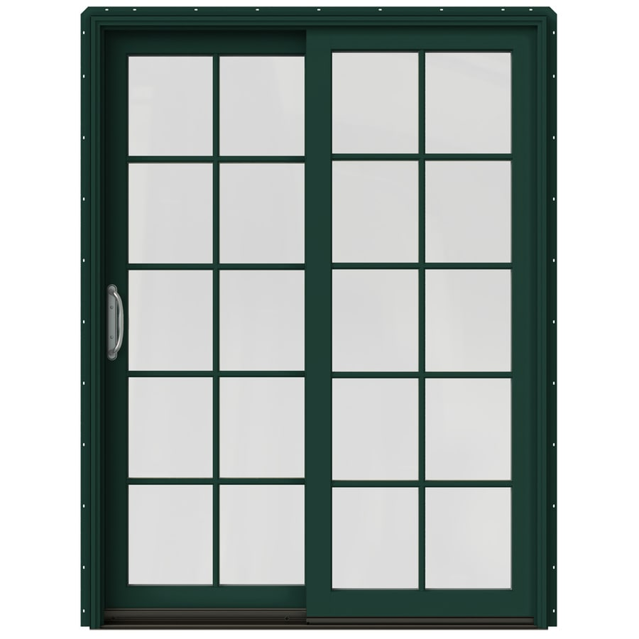JELD-WEN W-2500 59.25-in 10-Lite Glass Hartford Green Wood Sliding Patio Door with Screen