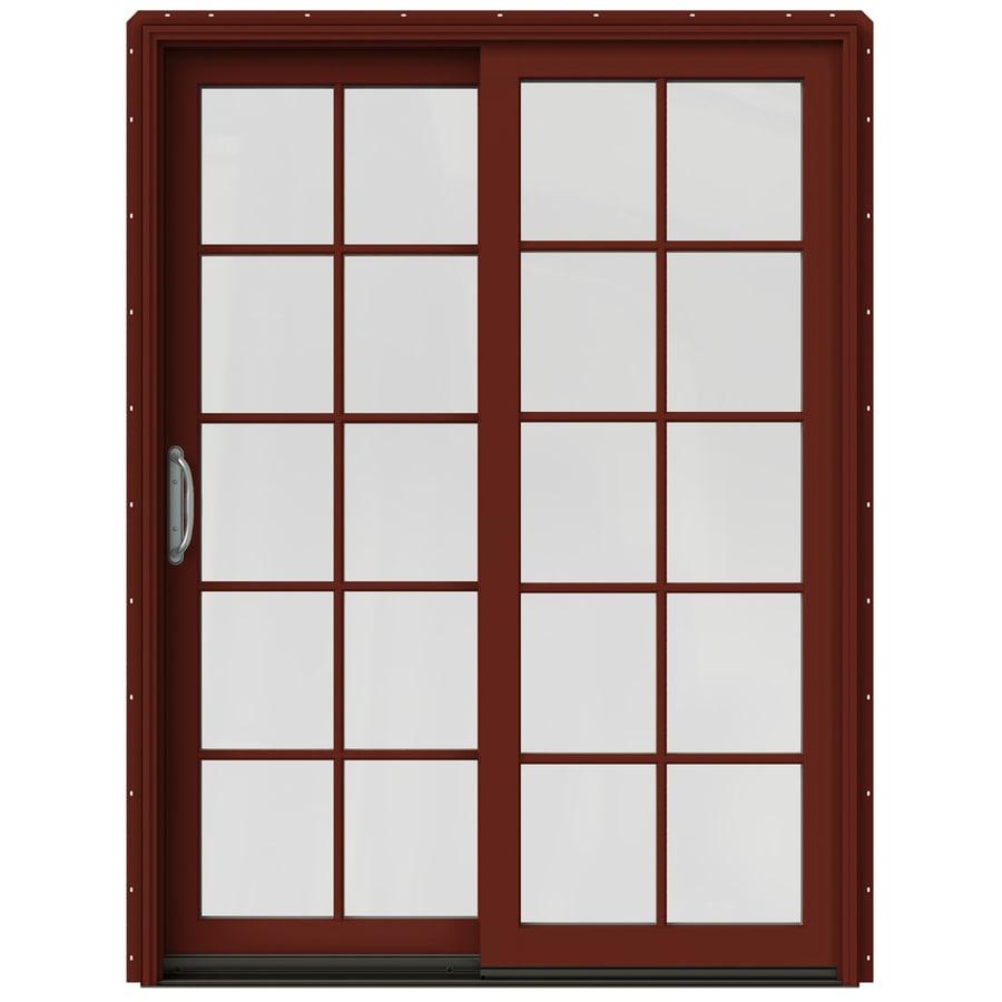 JELD-WEN W-2500 59.25-in 10-Lite Glass Mesa Red Wood Sliding Patio Door with Screen