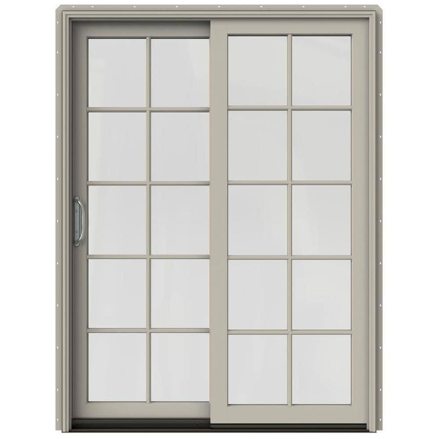 JELD-WEN W-2500 59.25-in 10-Lite Glass Desert Sand Wood Sliding Patio Door with Screen