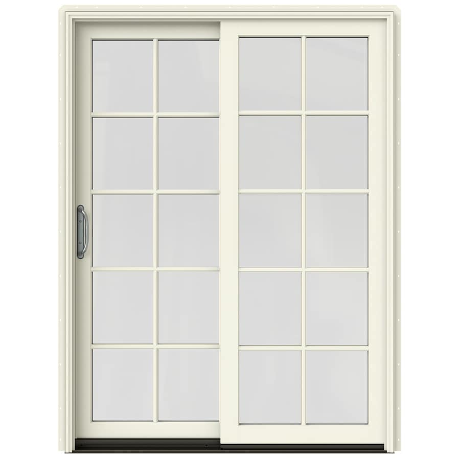 JELD-WEN W-2500 59.25-in 10-Lite Glass French Vanilla Wood Sliding Patio Door with Screen