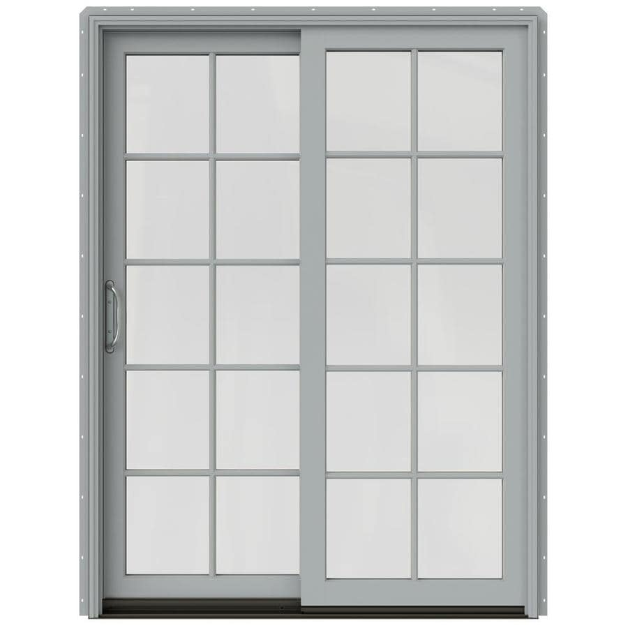 JELD-WEN W-2500 59.25-in 10-Lite Glass Artict Silver Wood Sliding Patio Door with Screen
