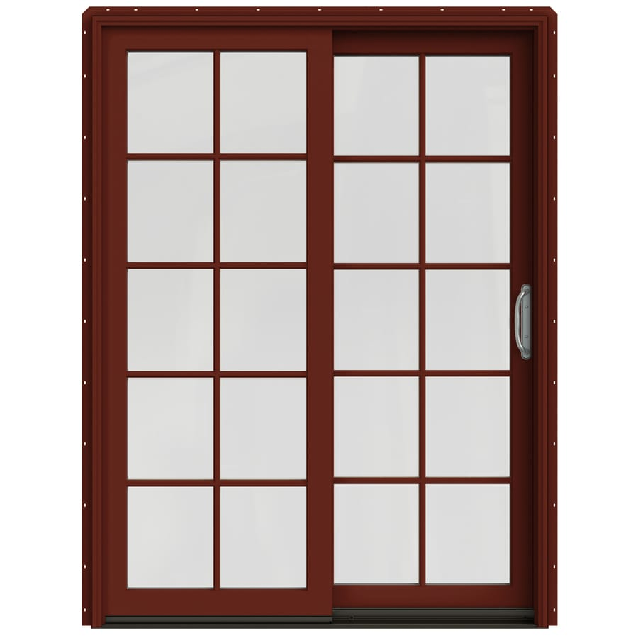 JELD-WEN W-2500 59.25-in 10-Lite Glass Mesa Red Wood Sliding Patio Door with Screen